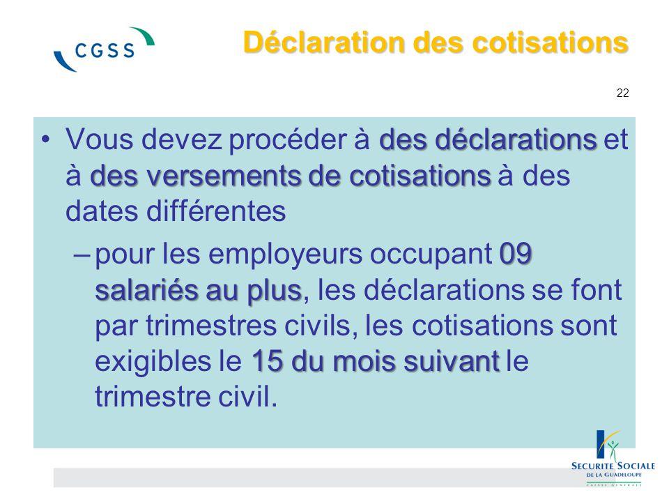Déclaration des cotisations 22