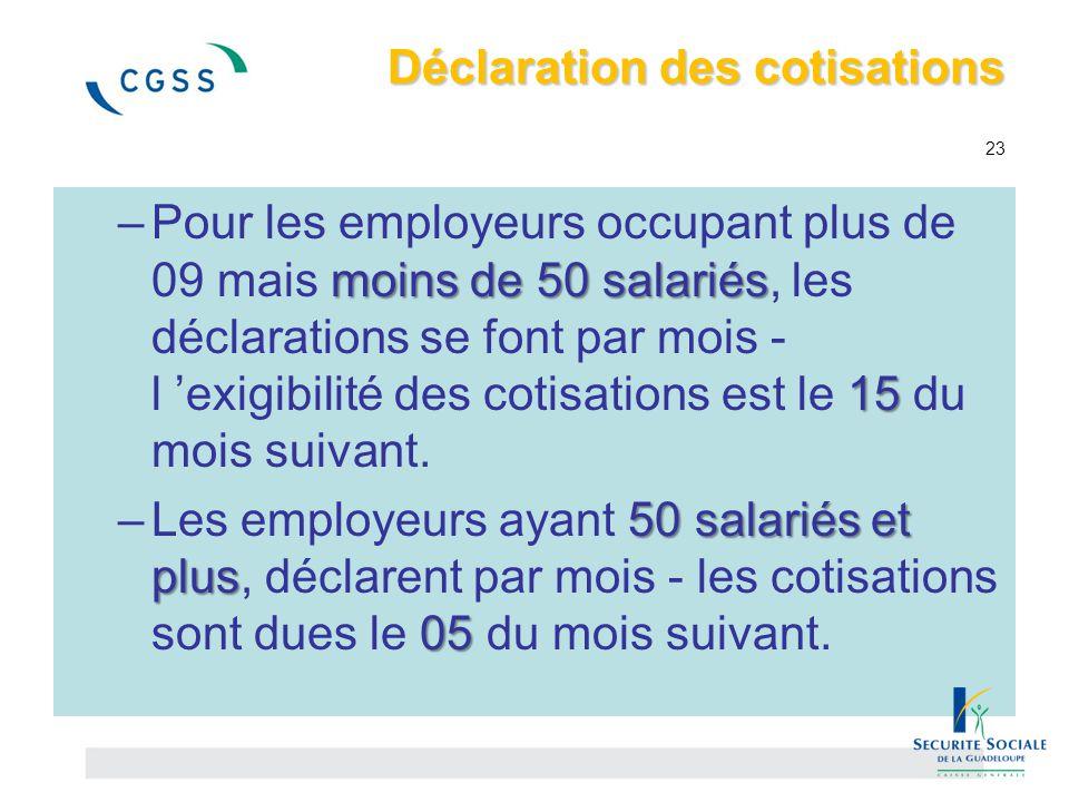 Déclaration des cotisations 23