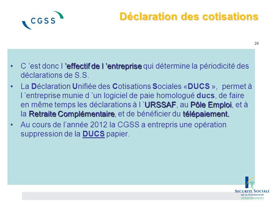 Déclaration des cotisations 24