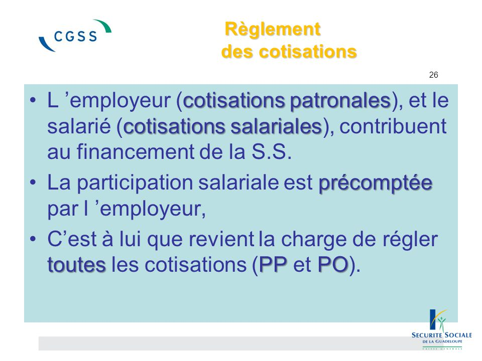 Règlement des cotisations 26