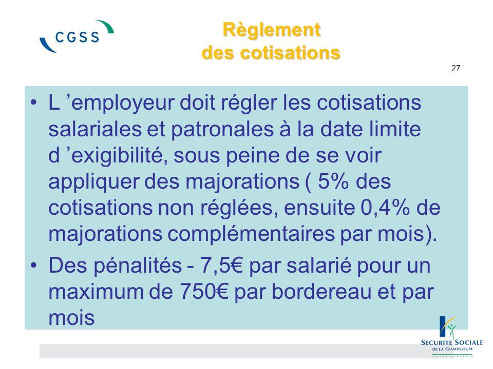 Règlement des cotisations 27