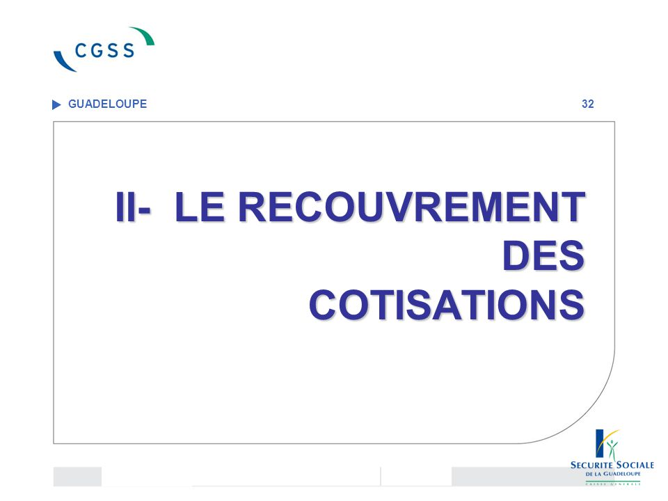 II- LE RECOUVREMENT DES COTISATIONS