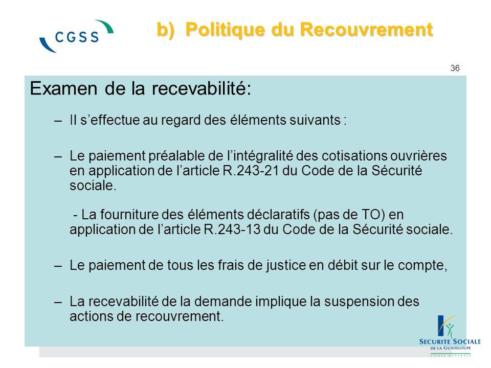 b) Politique du Recouvrement 36