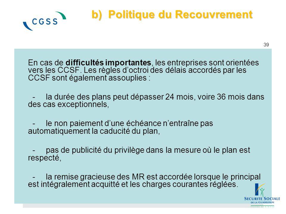 b) Politique du Recouvrement 39