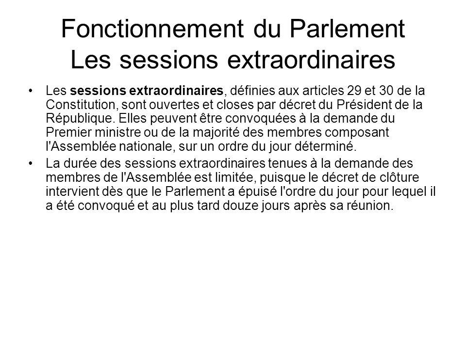 Fonctionnement du Parlement Les sessions extraordinaires