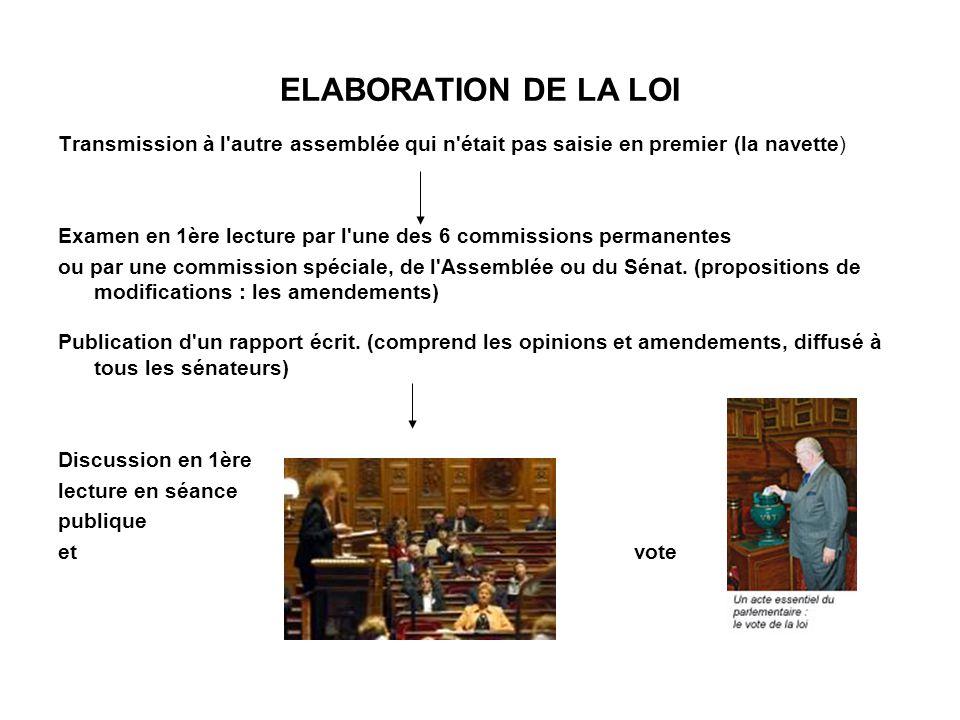 ELABORATION DE LA LOI Transmission à l autre assemblée qui n était pas saisie en premier (la navette)