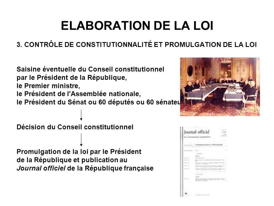 ELABORATION DE LA LOI 3. CONTRÔLE DE CONSTITUTIONNALITÉ ET PROMULGATION DE LA LOI. Saisine éventuelle du Conseil constitutionnel.