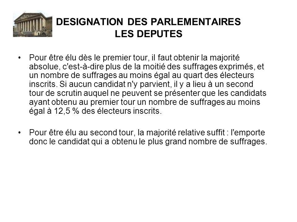 DESIGNATION DES PARLEMENTAIRES LES DEPUTES