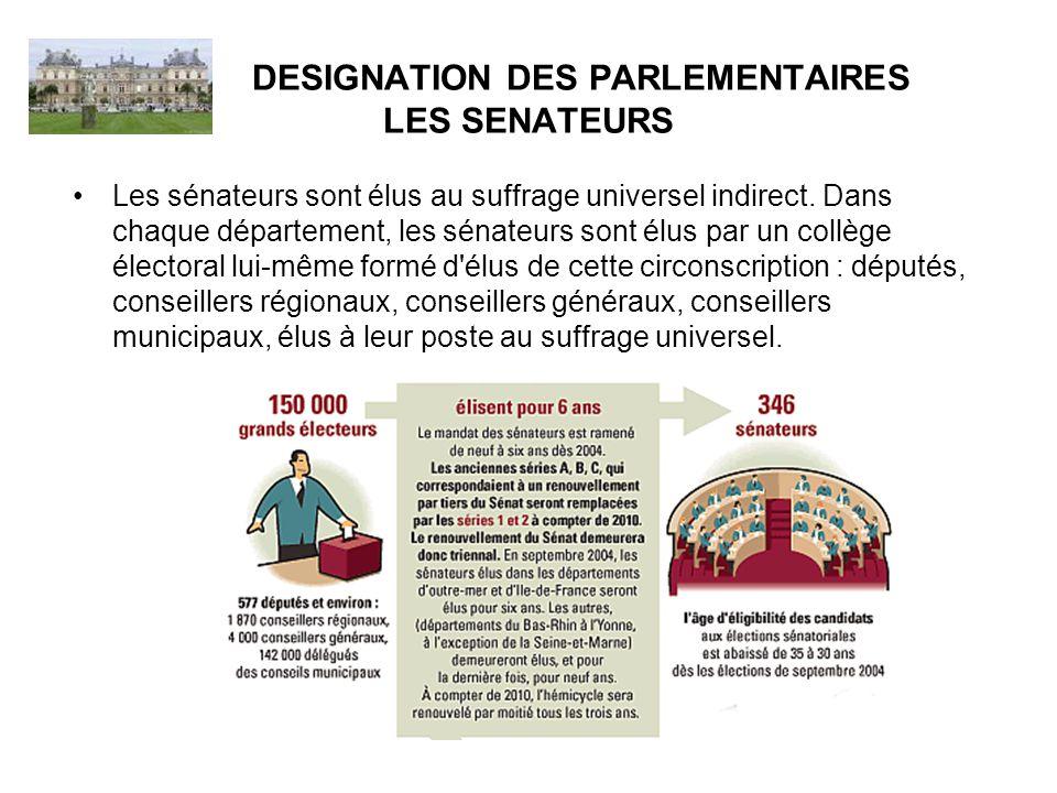DESIGNATION DES PARLEMENTAIRES LES SENATEURS