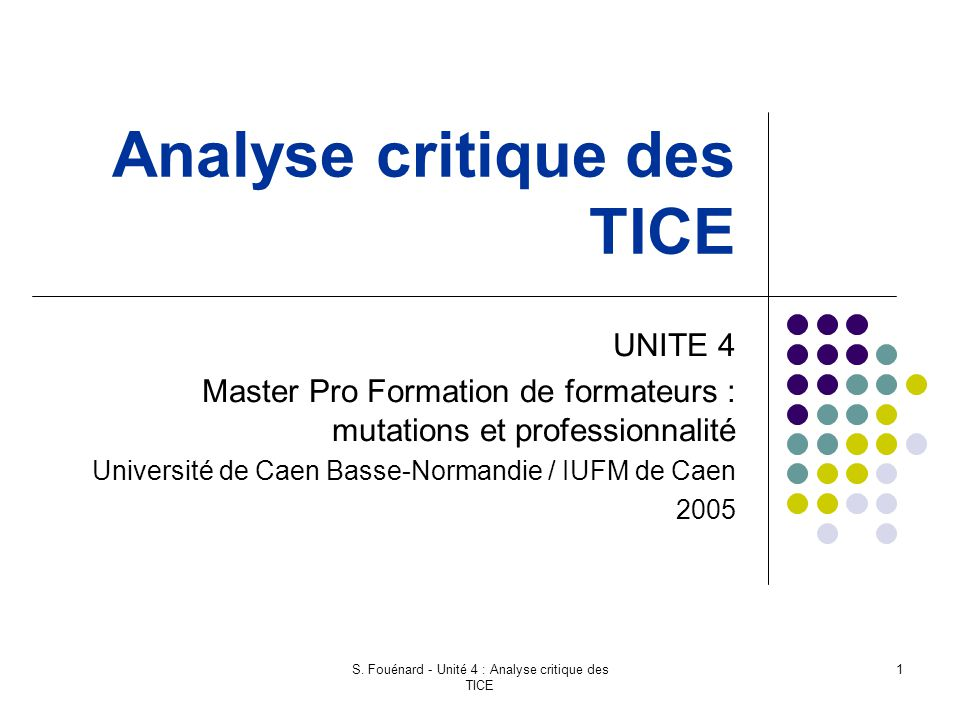 Analyse critique des TICE