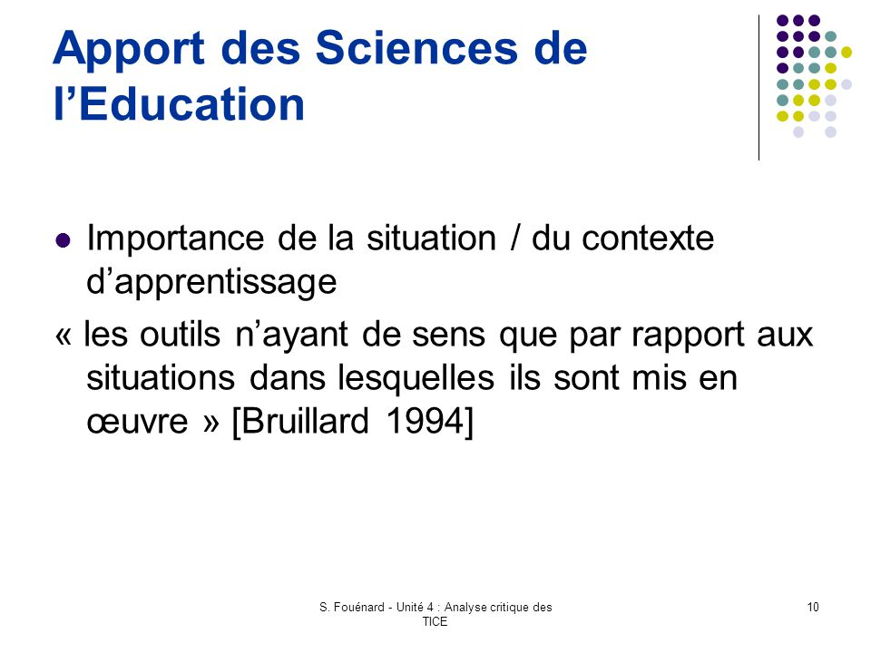 Apport des Sciences de l'Education