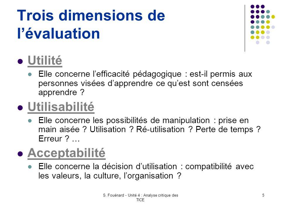 Trois dimensions de l'évaluation