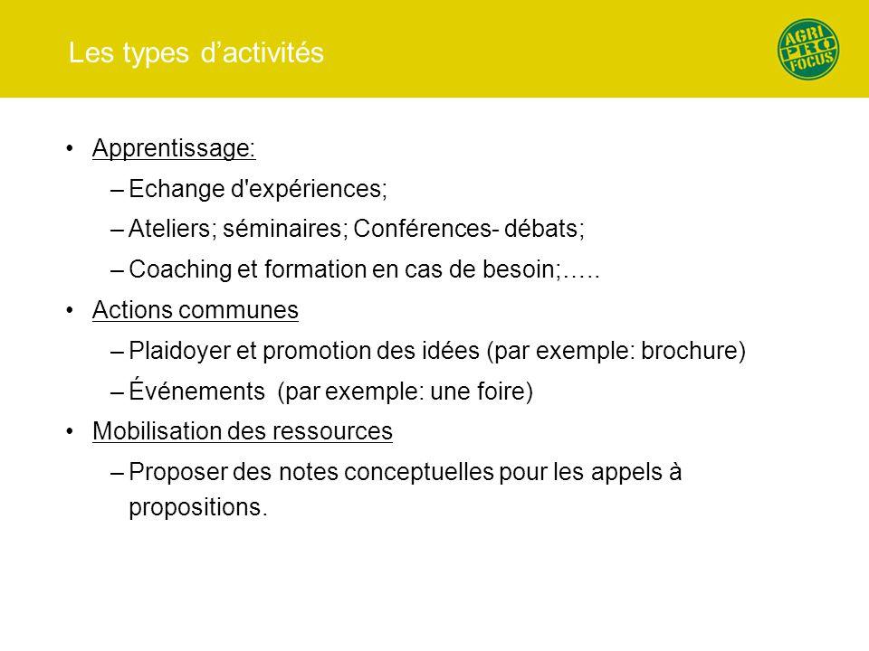 Les types d'activités Apprentissage: Echange d expériences;