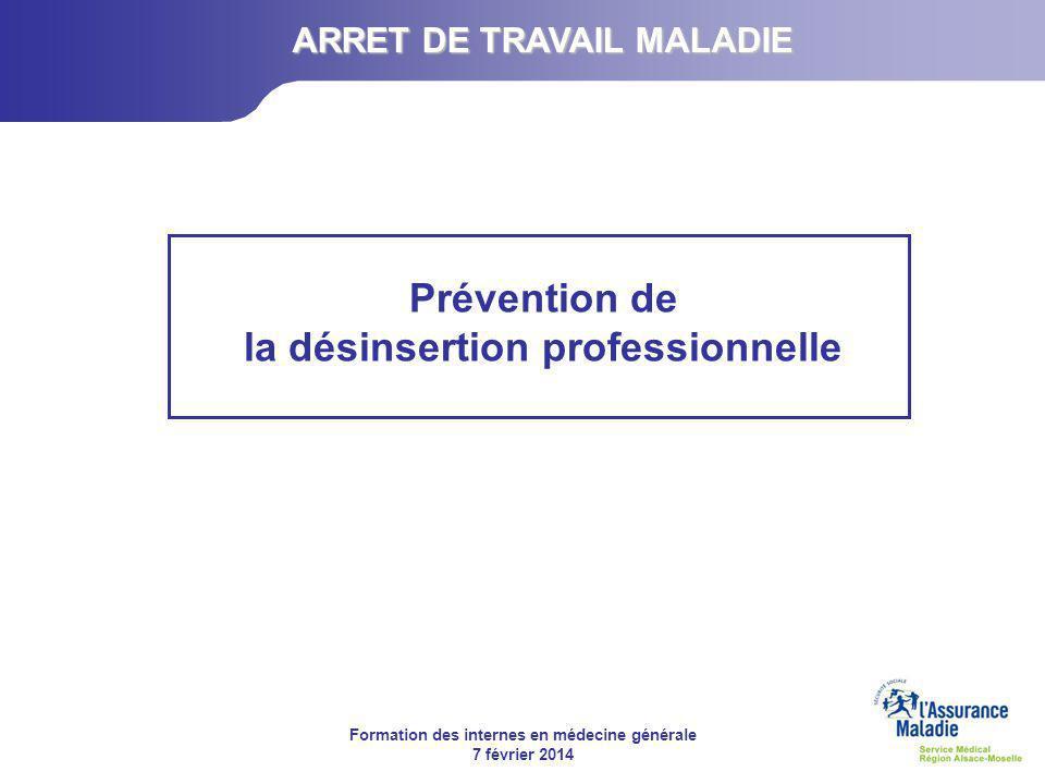 ARRET DE TRAVAIL MALADIE Prévention de la désinsertion professionnelle