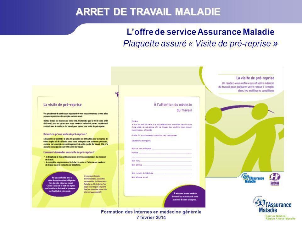 ARRET DE TRAVAIL MALADIE L'offre de service Assurance Maladie
