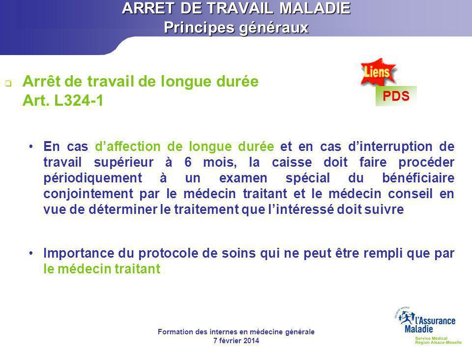 ARRET DE TRAVAIL MALADIE Principes généraux