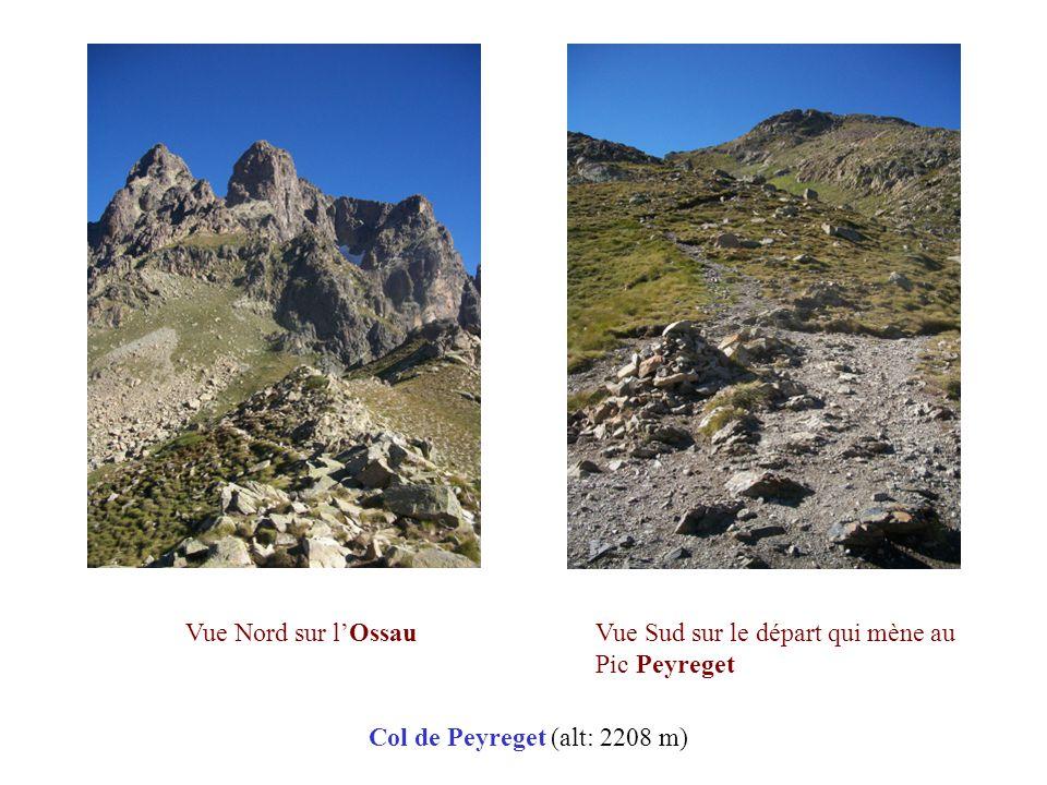 Vue Nord sur l'Ossau Vue Sud sur le départ qui mène au Pic Peyreget Col de Peyreget (alt: 2208 m)