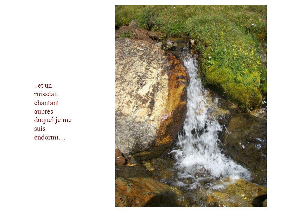 ..et un ruisseau chantant auprès duquel je me suis endormi…
