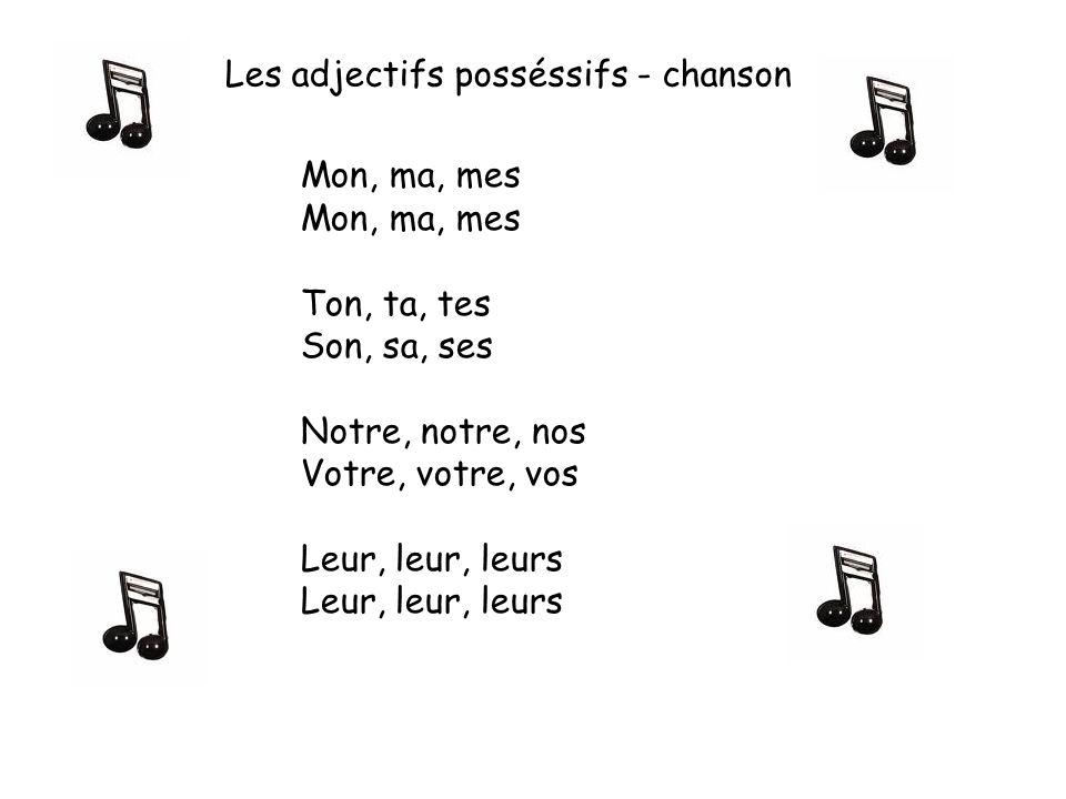Les adjectifs posséssifs - chanson