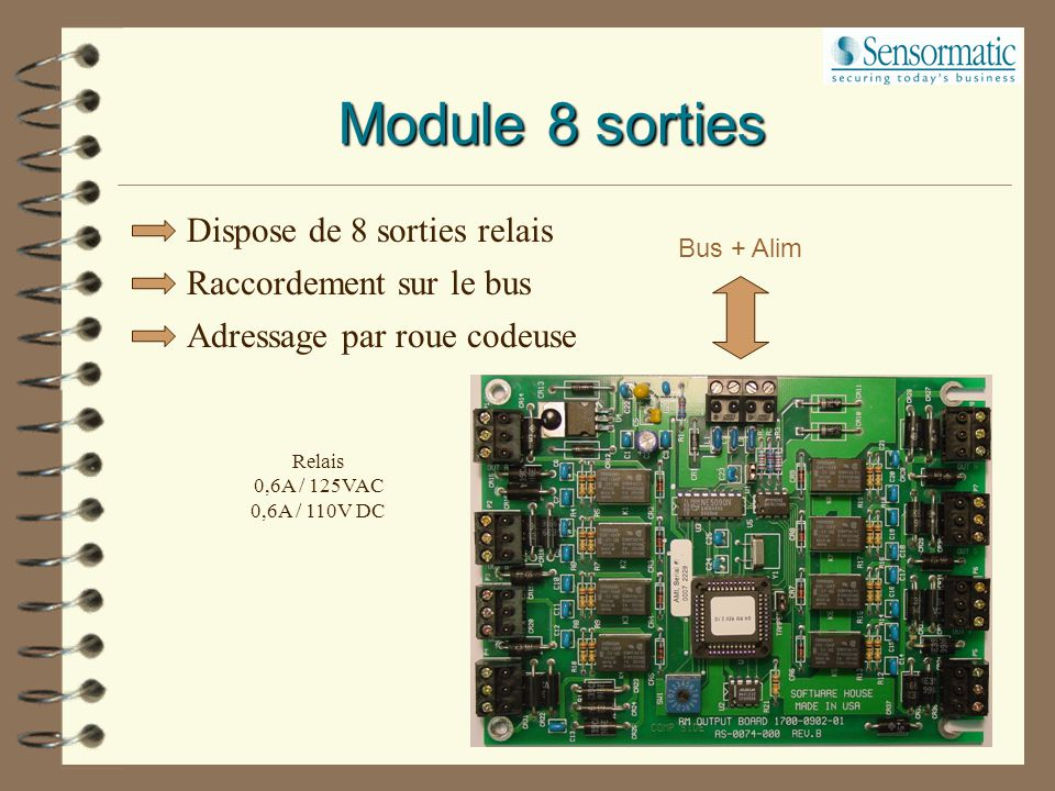 Module 8 sorties Dispose de 8 sorties relais Raccordement sur le bus