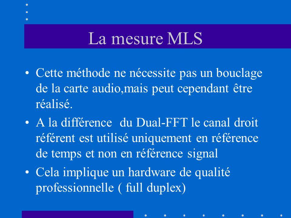 La mesure MLS Cette méthode ne nécessite pas un bouclage de la carte audio,mais peut cependant être réalisé.