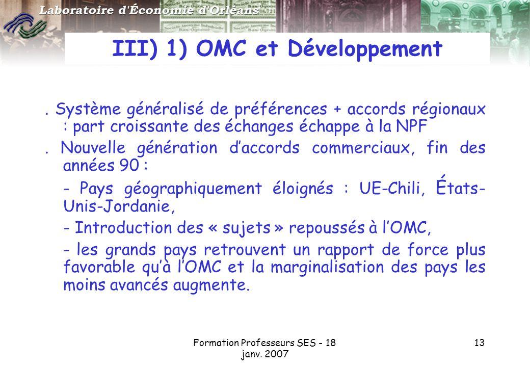 III) 1) OMC et Développement