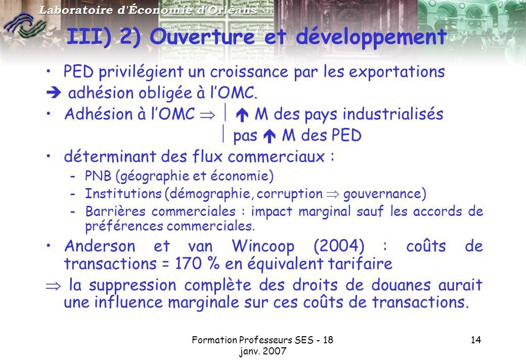 III) 2) Ouverture et développement
