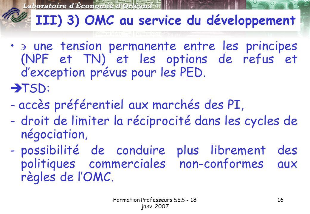 III) 3) OMC au service du développement