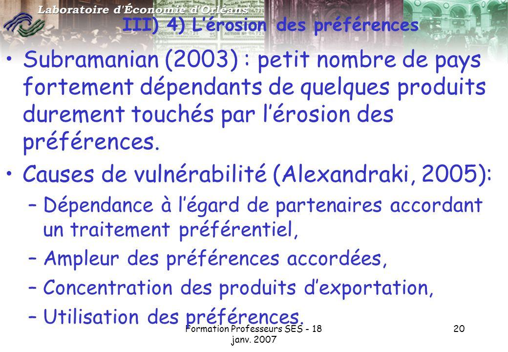 III) 4) L'érosion des préférences