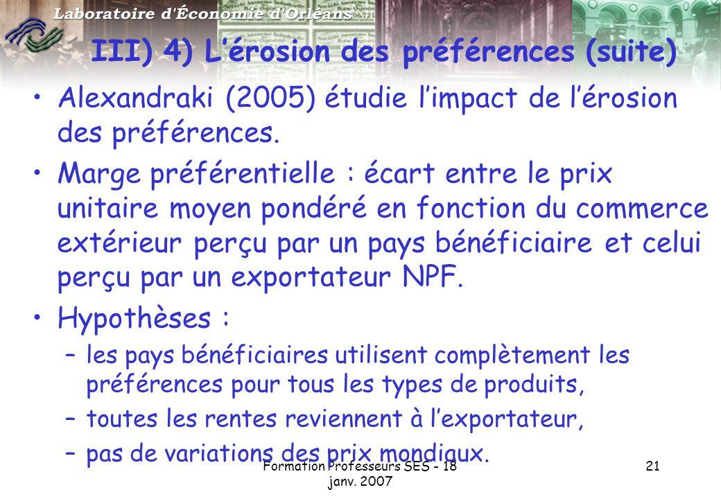 III) 4) L'érosion des préférences (suite)