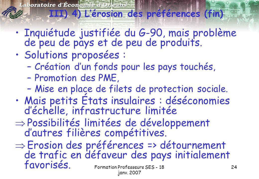 III) 4) L'érosion des préférences (fin)