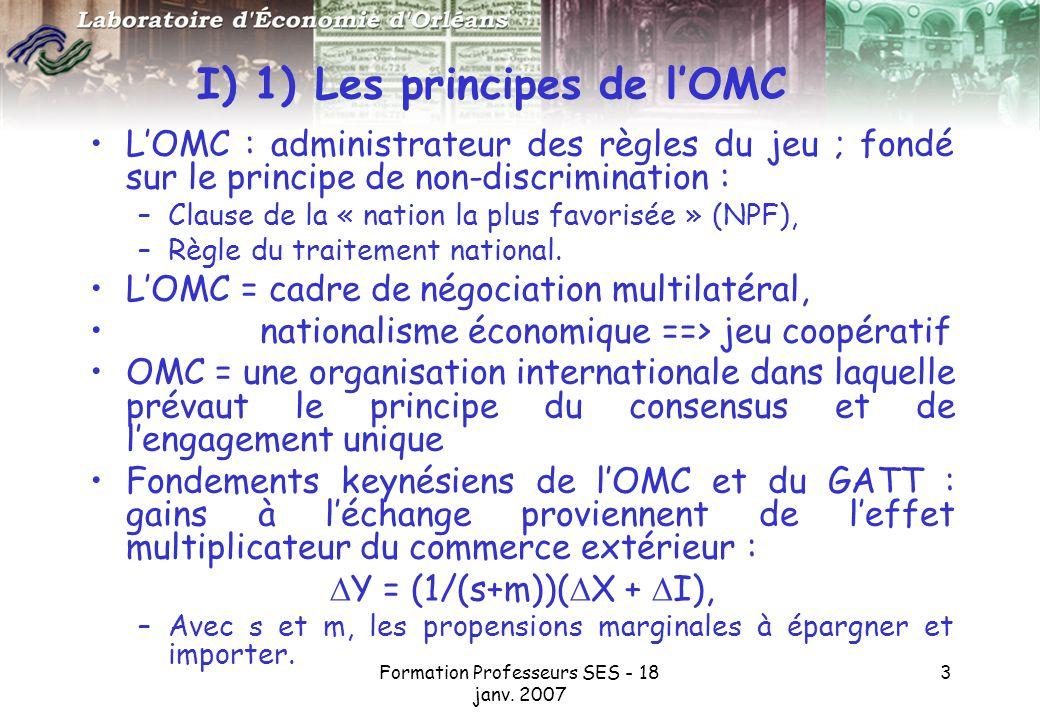 I) 1) Les principes de l'OMC