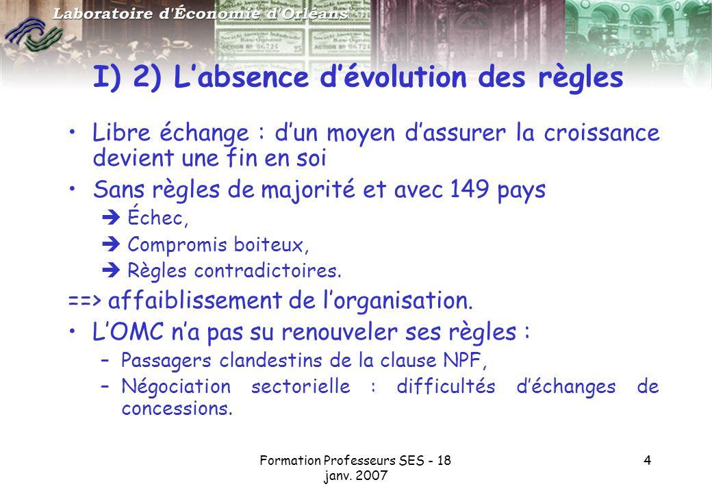 I) 2) L'absence d'évolution des règles