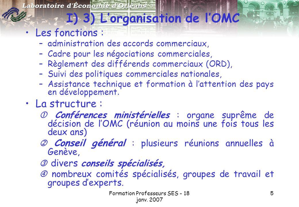 I) 3) L'organisation de l'OMC