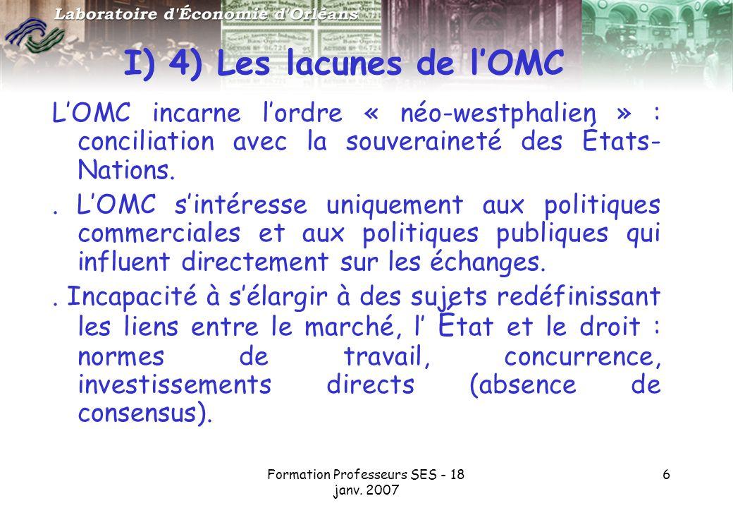 I) 4) Les lacunes de l'OMC