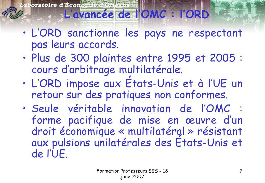 L'avancée de l'OMC : l'ORD