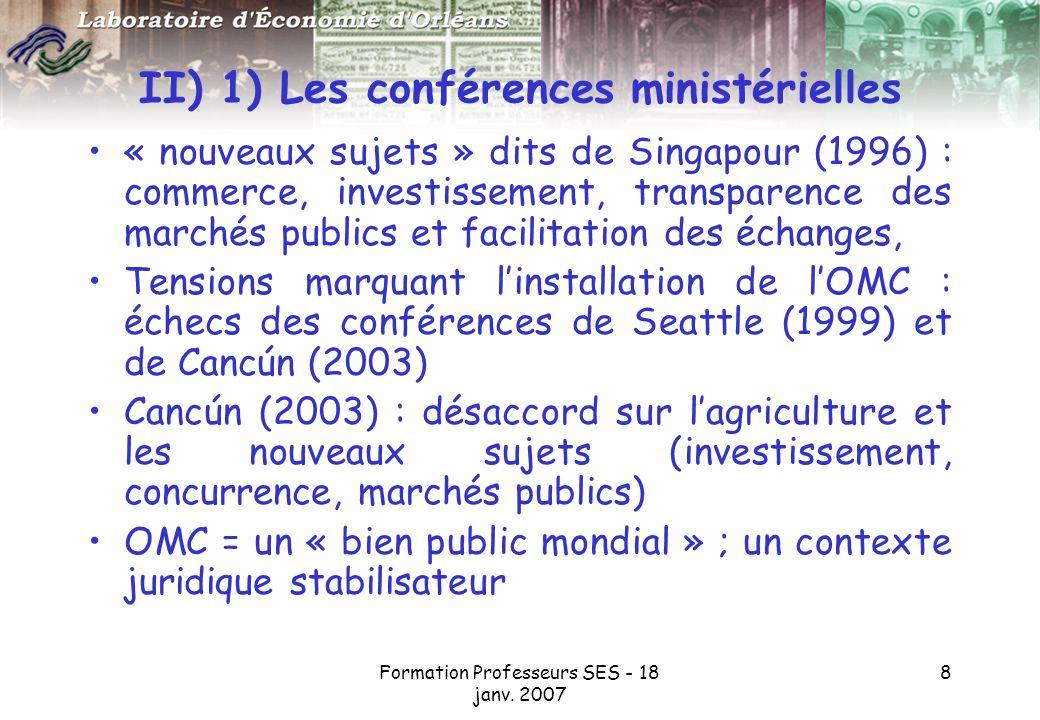 II) 1) Les conférences ministérielles