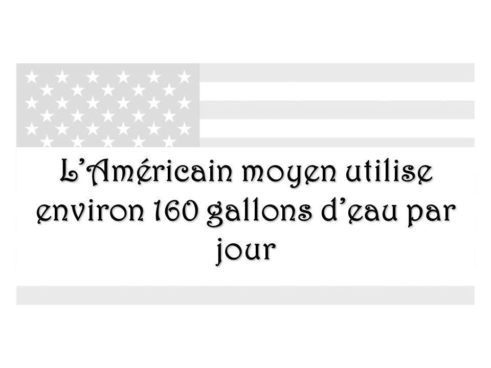 L'Américain moyen utilise environ 160 gallons d'eau par jour