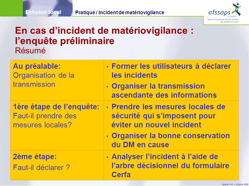 En cas d'incident de matériovigilance : l'enquête préliminaire Résumé
