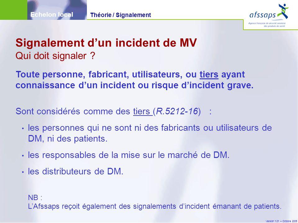 Signalement d'un incident de MV Qui doit signaler