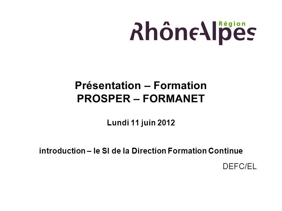 Présentation – Formation PROSPER – FORMANET Lundi 11 juin 2012 introduction – le SI de la Direction Formation Continue DEFC/EL