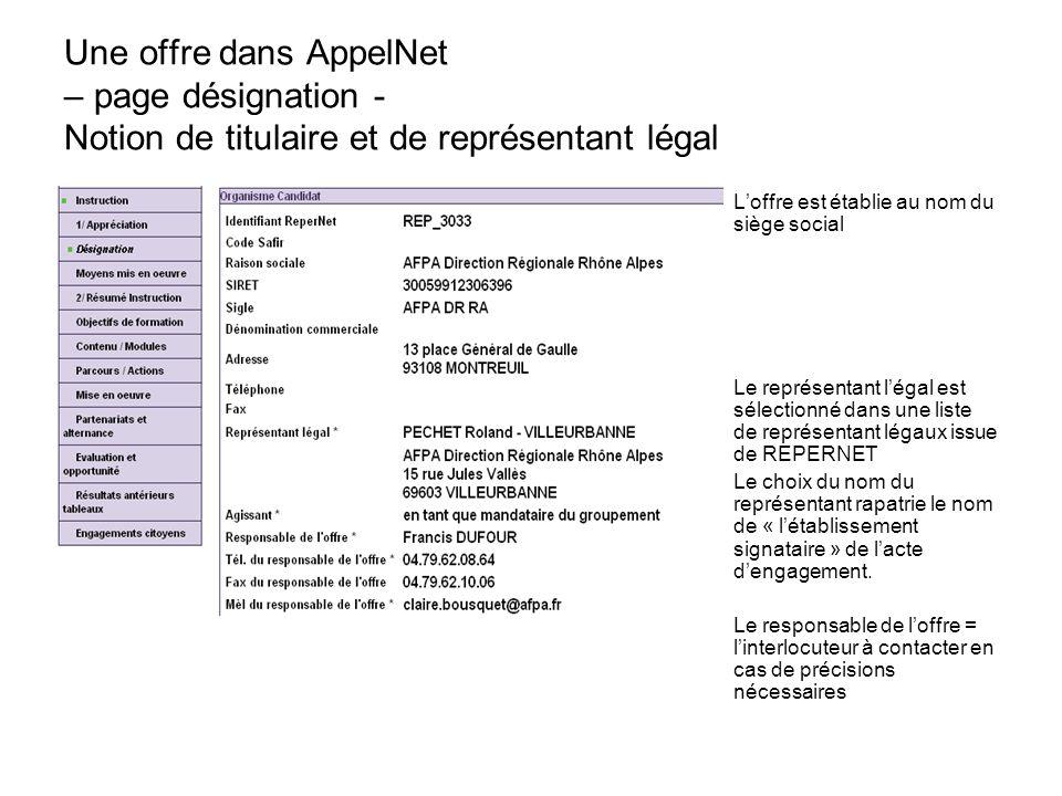 Une offre dans AppelNet – page désignation - Notion de titulaire et de représentant légal
