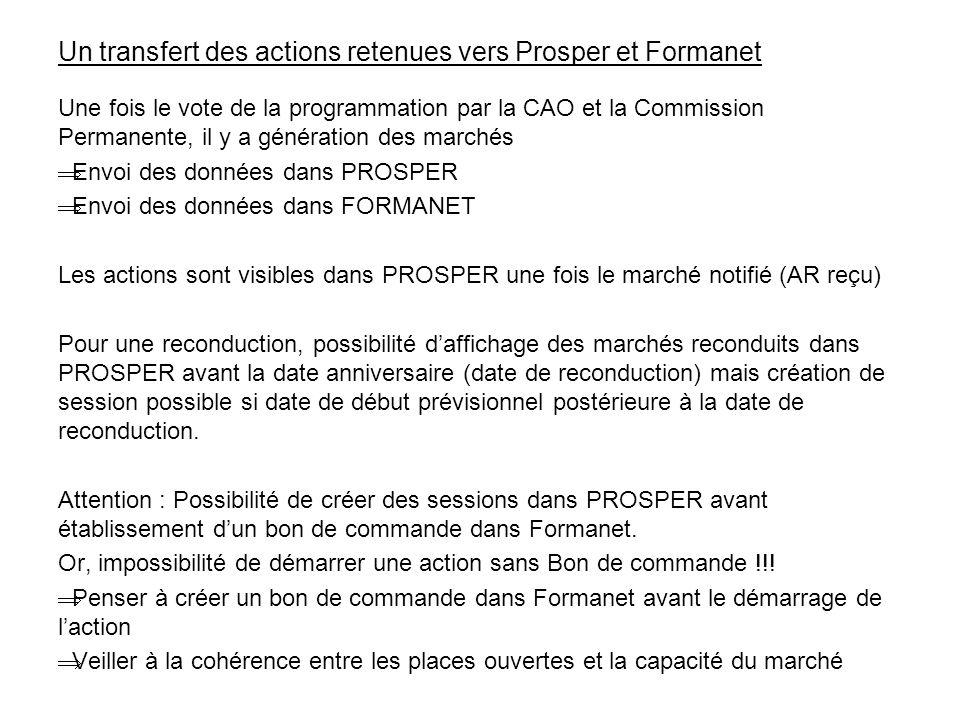 Un transfert des actions retenues vers Prosper et Formanet
