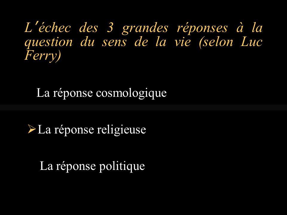 L'échec des 3 grandes réponses à la question du sens de la vie (selon Luc Ferry)