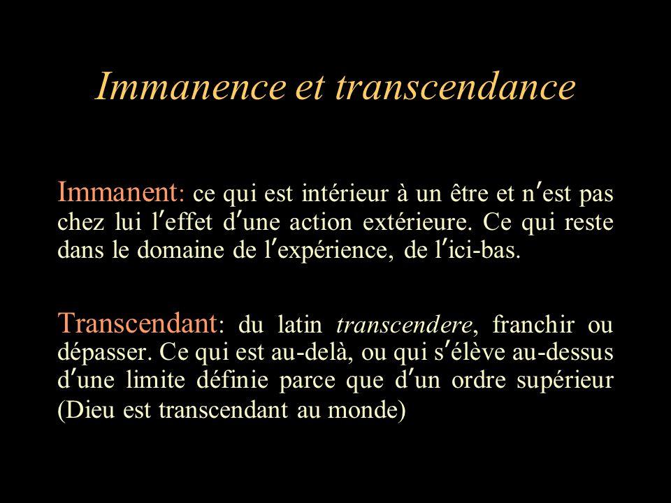 Immanence et transcendance