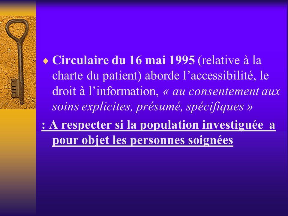 Circulaire du 16 mai 1995 (relative à la charte du patient) aborde l'accessibilité, le droit à l'information, « au consentement aux soins explicites, présumé, spécifiques »