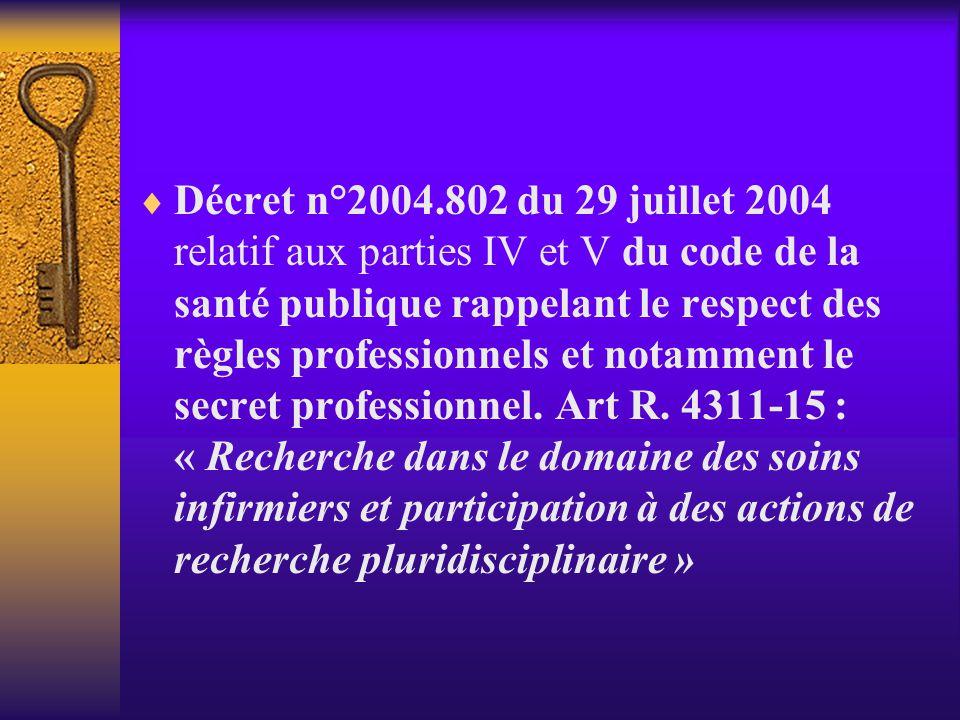 Décret n°2004.802 du 29 juillet 2004 relatif aux parties IV et V du code de la santé publique rappelant le respect des règles professionnels et notamment le secret professionnel.