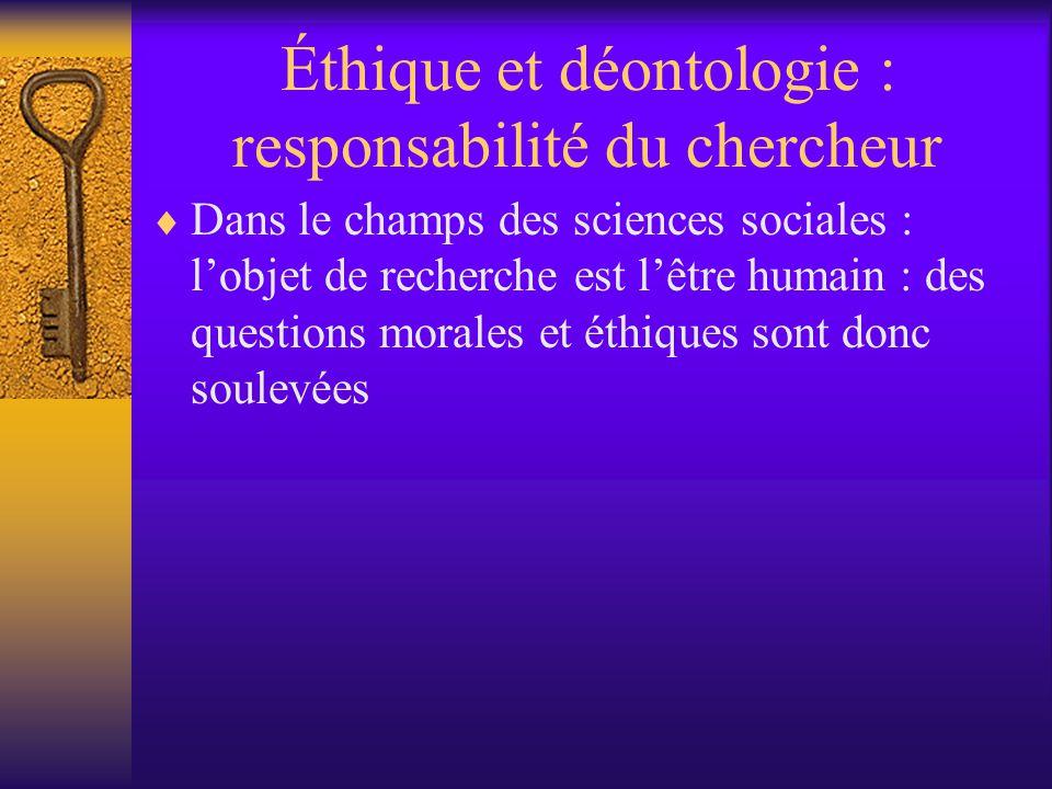 Éthique et déontologie : responsabilité du chercheur