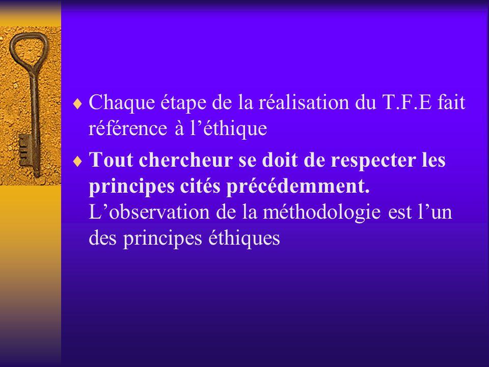 Chaque étape de la réalisation du T.F.E fait référence à l'éthique