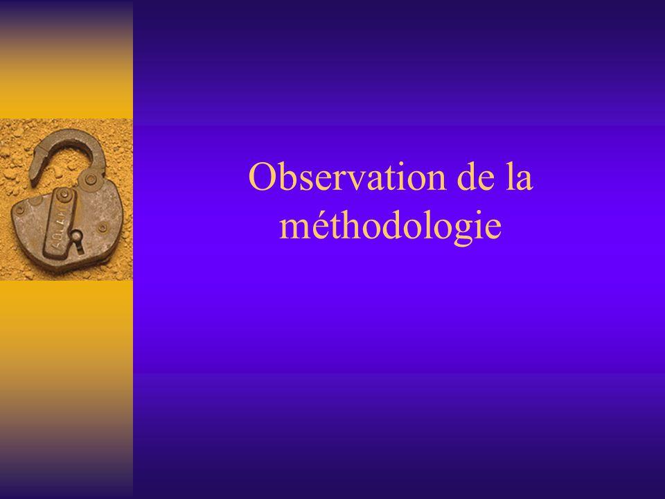 Observation de la méthodologie